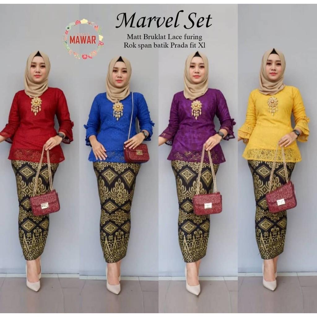 [Bayar di Tempat] model baju gamis batik kombinasi kain polos Rnb Marvel