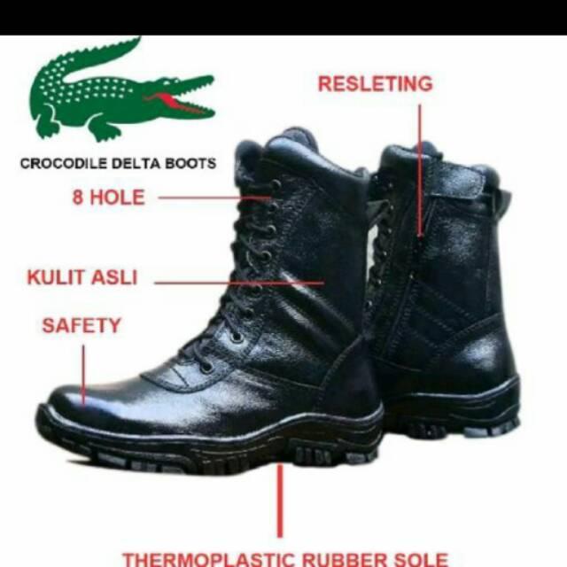 Sepatu PDL Boots Resleting Zipper Kulit Asli Crocodile Safety TNI Polisi  Satpol PP Satpam Pria Hitam  aac772615f