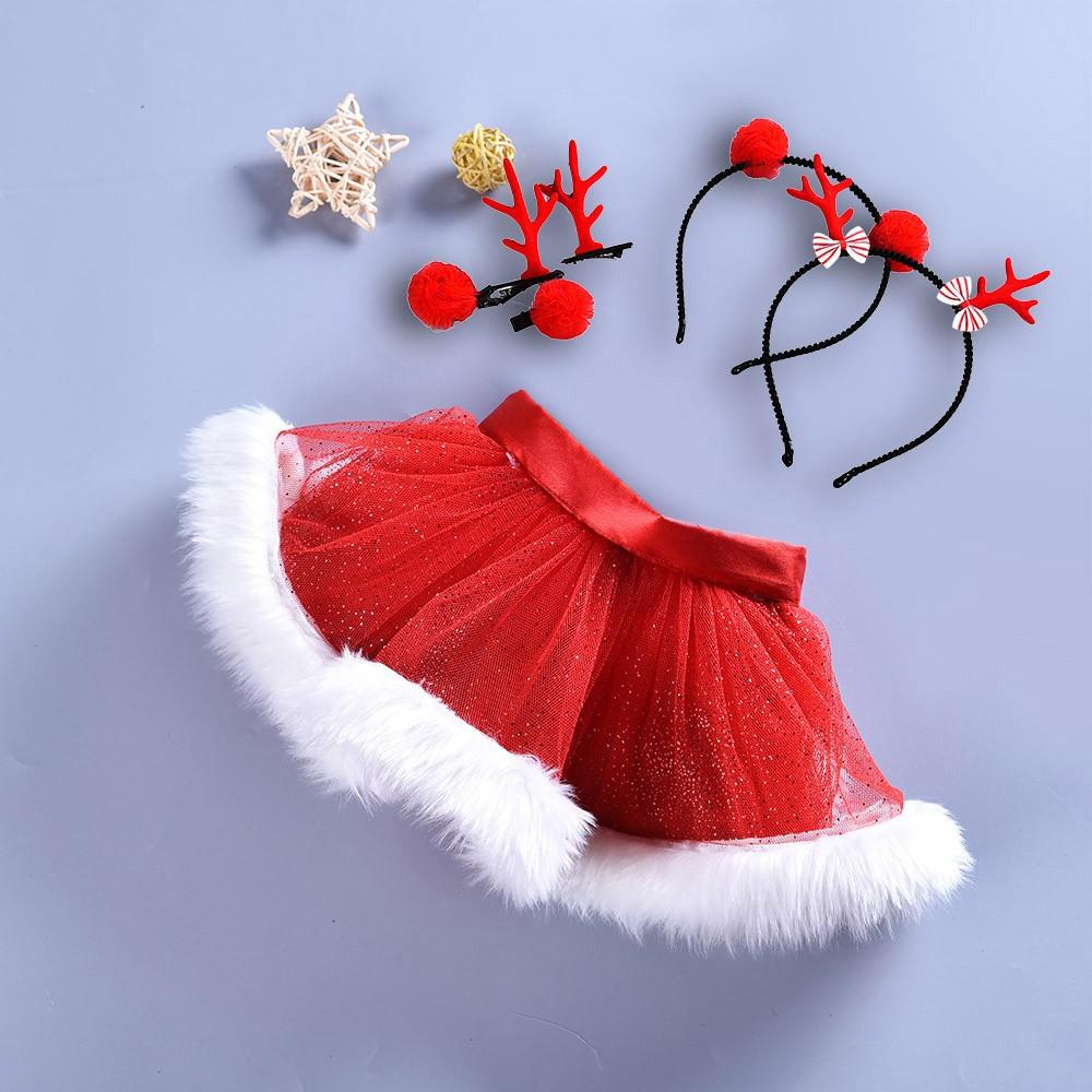 Infant Baby Girl Kid Christmas Tutu Ballet Skirt Fancy Party Skirt+Hair Hoop Set