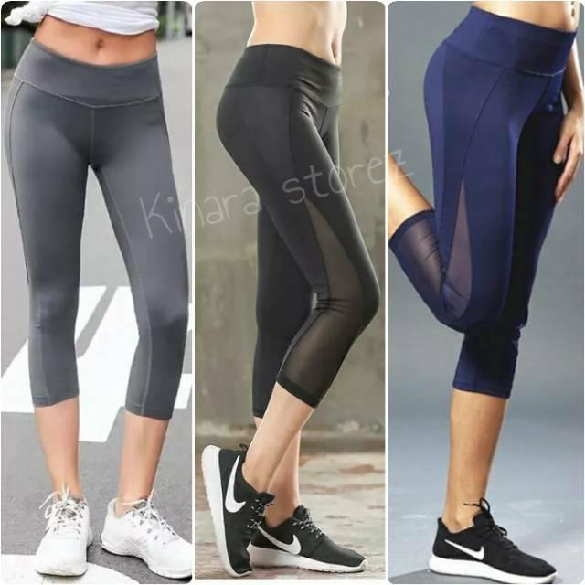 Kinarastorez Celana Senam Legging Transparan 3 4 Sport Gym Fitness Olahraga Wanita Shopee Indonesia
