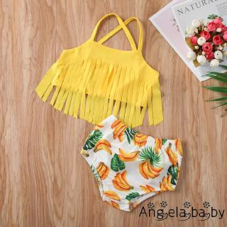 Infant Baby Girls Tassel Halter Tops Yellow Banana Print Swimsuit Bikini Beachwear