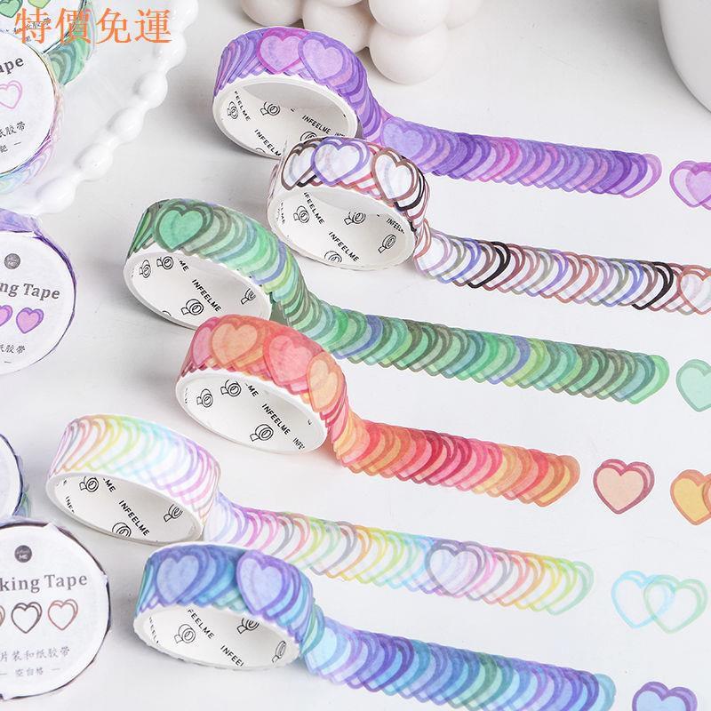 100pcs Tape / Selotip Washi Gambar Hati Warna Gradasi 100
