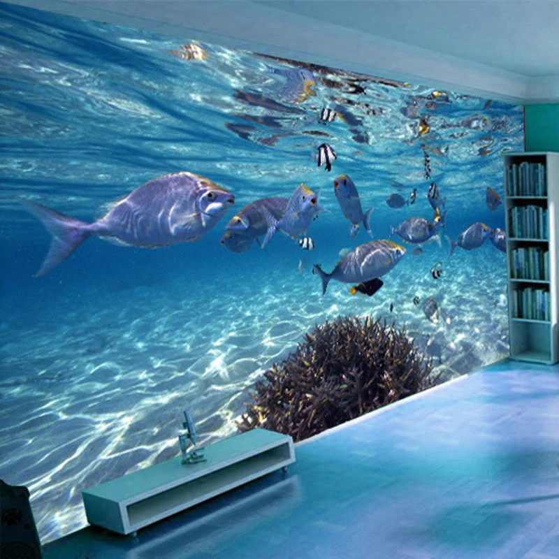 Termurah Foto Kustom Wallpaper 3d Stereoscopic Dunia Bawah Laut Dari Ikan Laut Hidup Kamar