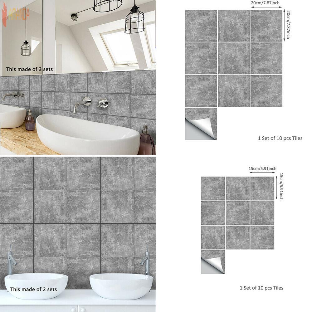 Tile Stickers Concrete Feel Bathroom Home Decor Pvc 10pcs Grey Industry Floor Tile Stickers Shopee Indonesia