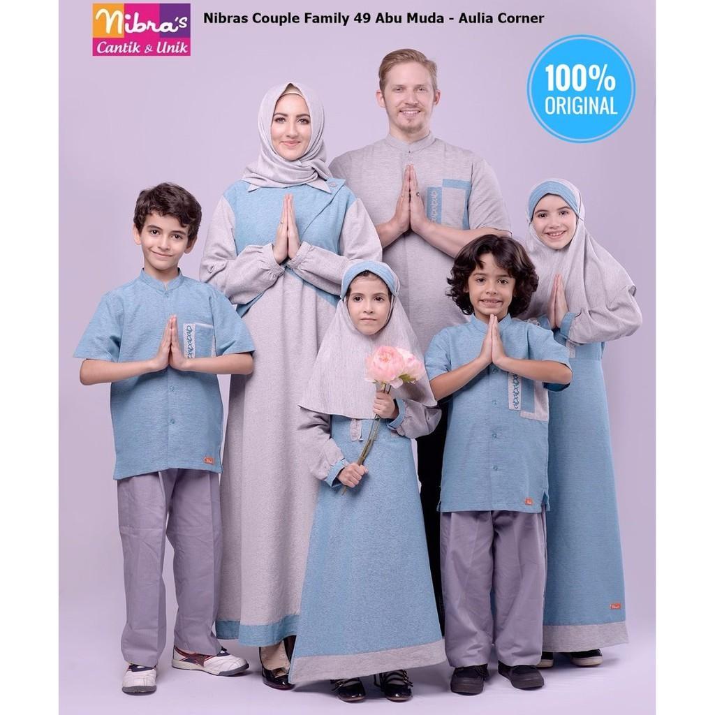 TERBATAS Model Baju Couple Nibras Couple Family 9 Abu Muda Baju Muslim  Couple Keluarga