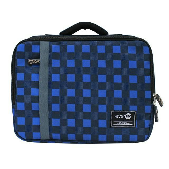 Eversac Laptop Case 12 Inch Blue Tartan Grey