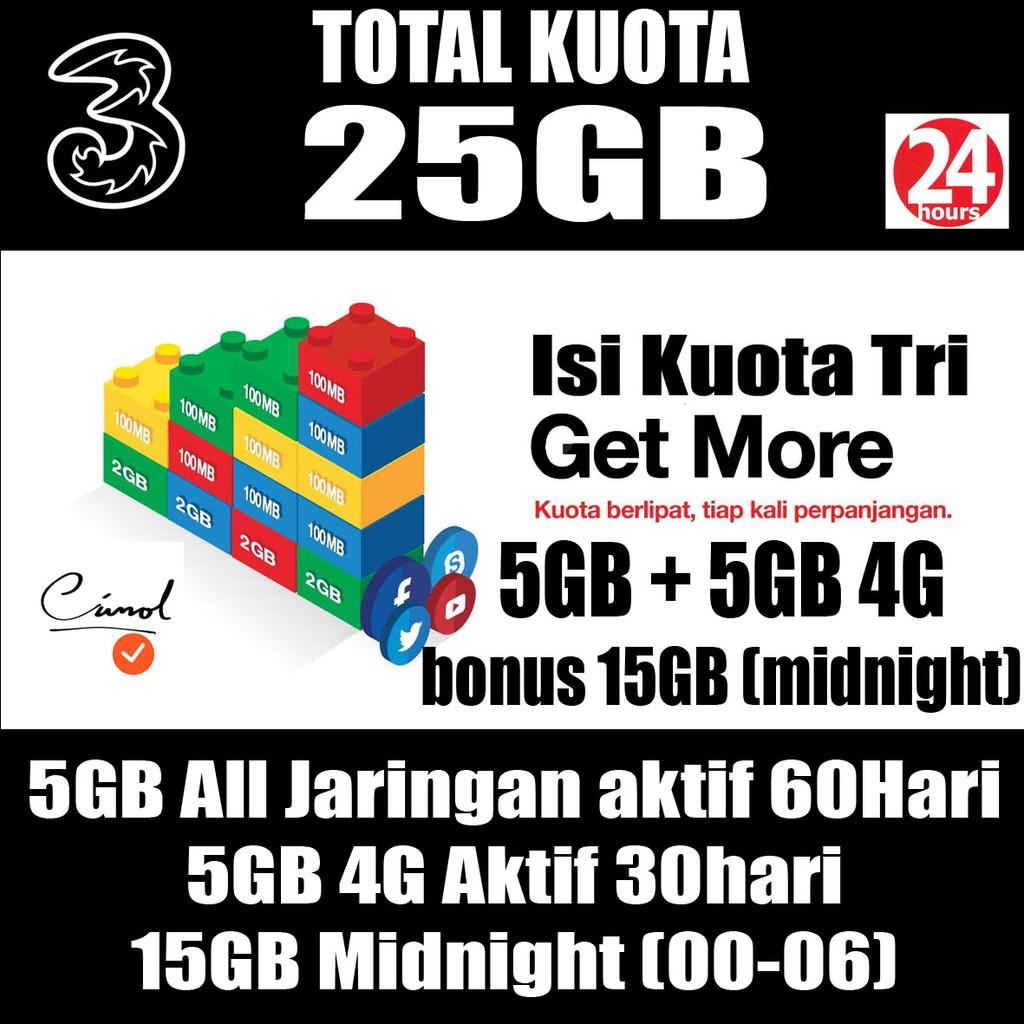 Tri Kuota 2 25gb Daftar Harga Terbaru Dan Terlengkap Indonesia Kartu Perdana Paket Data Mix 225gb Isi Ulang