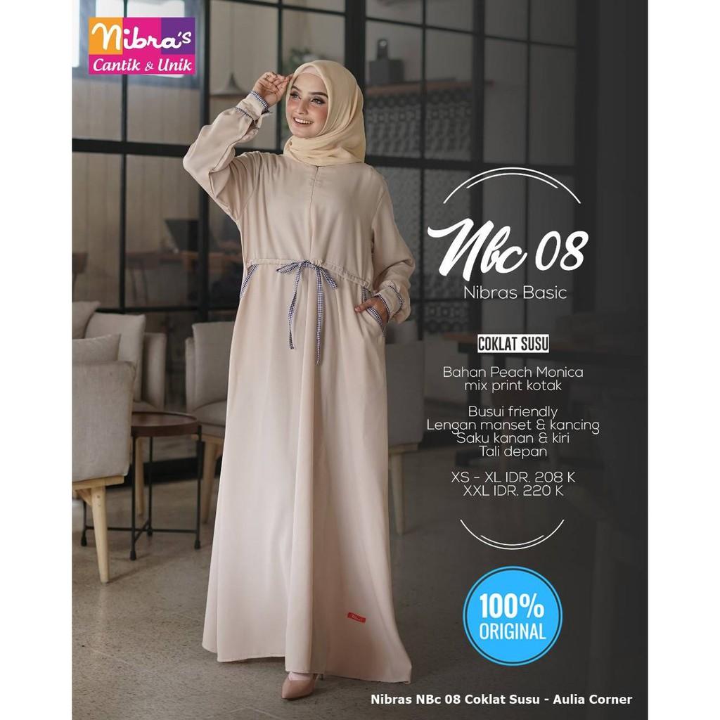 Busana Muslim Wanitagamis Nibras Nbc 08 Coklat Susu Originaljual Baju Gamis Wanita Online Shopee Indonesia