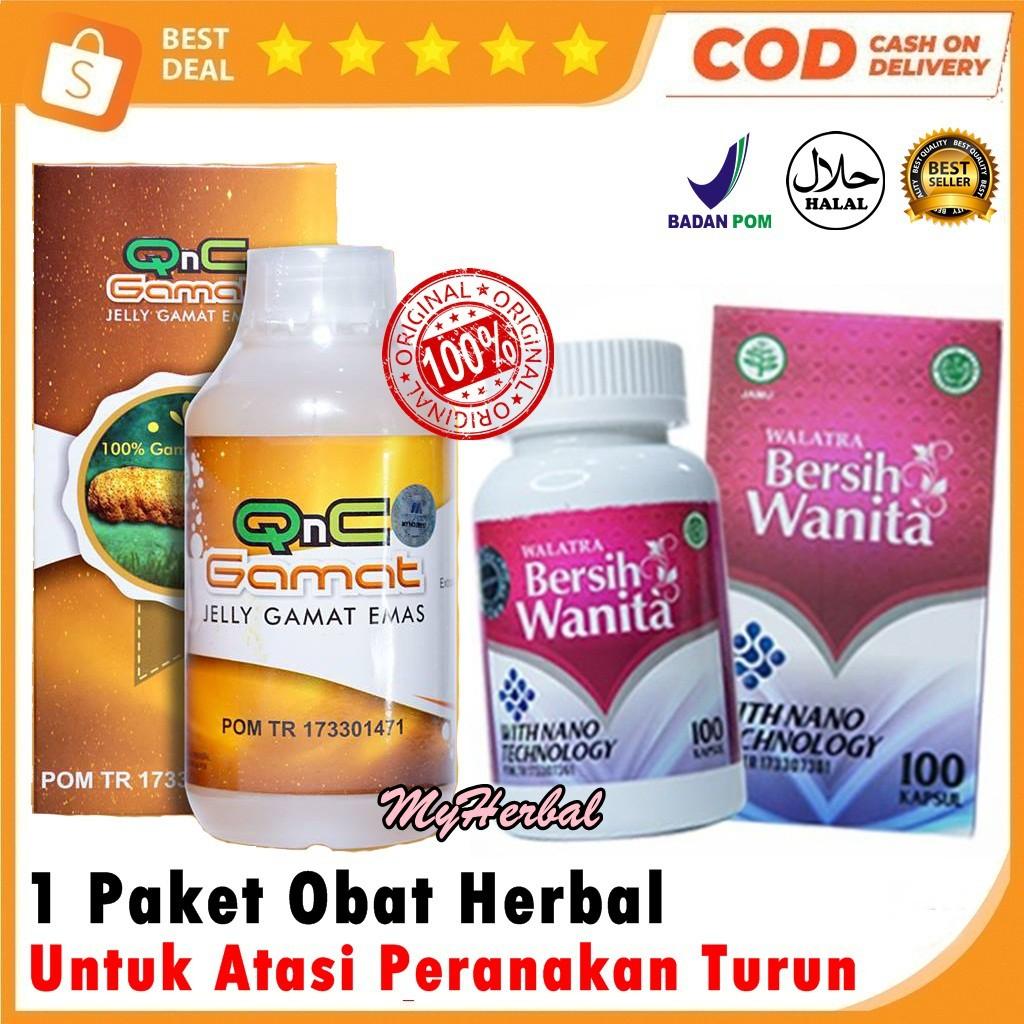 Paket Obat Herbal Turun Peranakan Prolaps Uteri Turun Rahim Qnc Jelly Gamat Walatra Bersih Wanita Shopee Indonesia