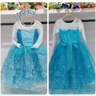 Baju Anak Dress Kostum Frozen Elsa Rok Motif (10) + Bando Mahkota Elsa  37ef062a15