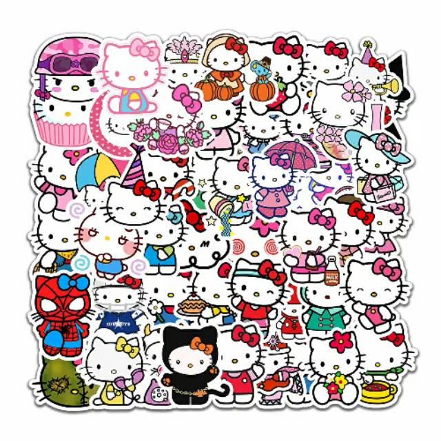 Stiker Sticker Hello Kitty Lucu Imut Keren Bisa Tempel Di Hp Kulkas Laptop Helm Cangkir Mug Gelas Shopee Indonesia
