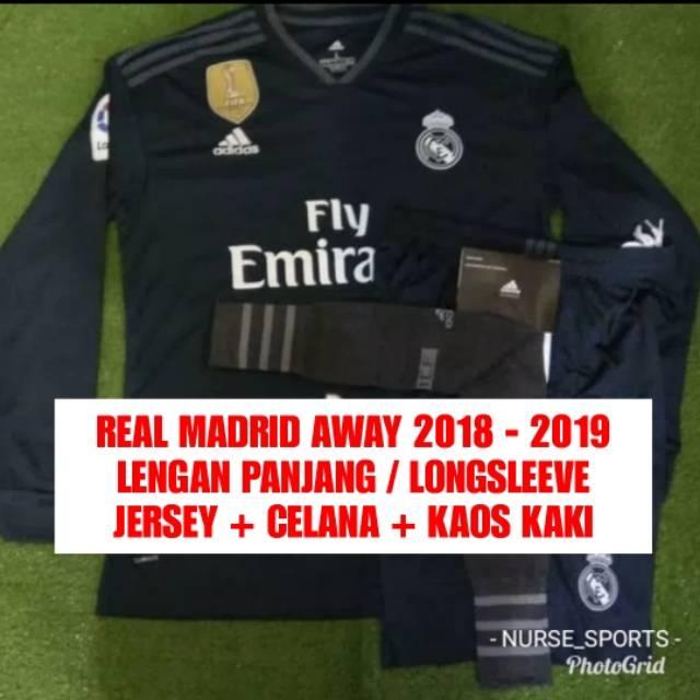 0cee018544c SATU SET JERSEY REAL MADRID AWAY MUSIM 2018 - 2019 GRADE ORI ...