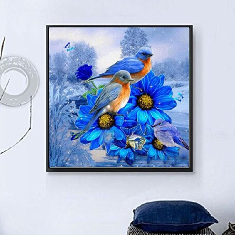 Diy Diamond Painting Wall Art Crystal Drawing Cross Stitch Blue Flower Bird Diamond Cross Stitch Shopee Indonesia