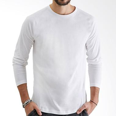 Kaos T-Shirt O-Neck Lengan Panjang Slim Fit Hem Lengkung Warna Polos | Shopee Indonesia