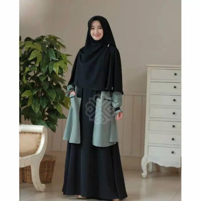 Elbina Set Gamis + Outer Saja S M L XL/ Fashion Muslim /Elbina Hijab