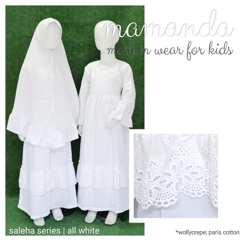 Gamis Anak All White Saleha Series by Mamanda