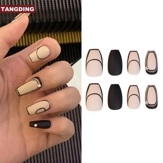 COD Tangding French Pearl Nail Remove Trapezoidal Wearable Long Fake Nails thumbnail