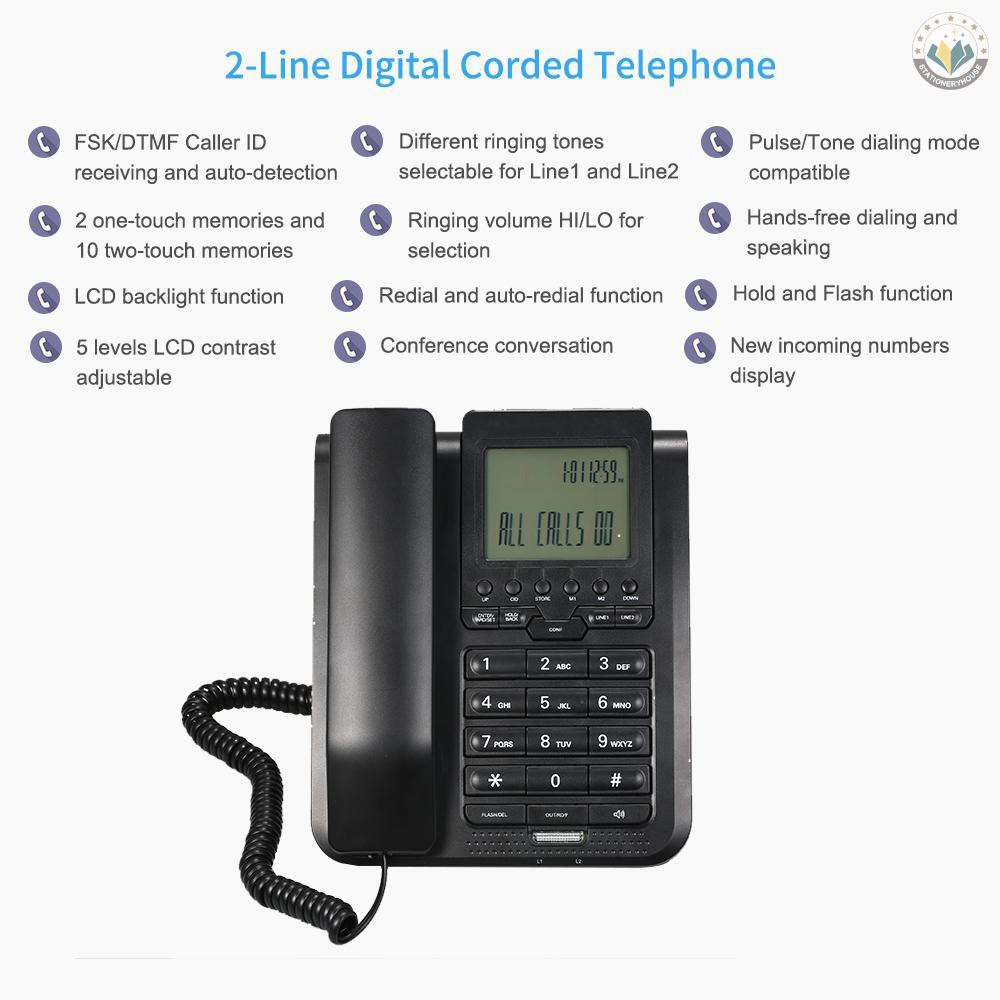 In Stock 2 Line Digital Corded Telephone Desk Landline Phone With Lcd Display Support 3 Way Conference Call Redial Auto Redial Set Key Memory Key Speakerphone Hands Free For Hotel Office Business Home Shopee Indonesia