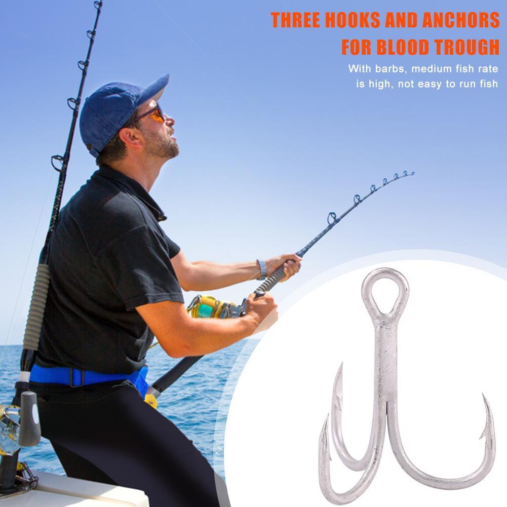 50pcs//box Sharpened Treble Hooks High Carbon Steel Blood Red Fishing Hooks