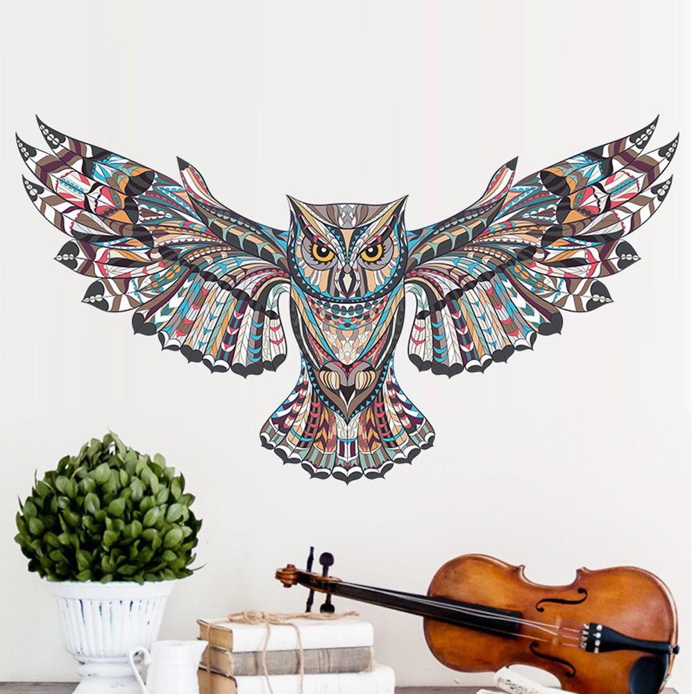 Stiker Dinding Dengan Bahan Pvc Mudah Dilepas Gambar Burung Hantu
