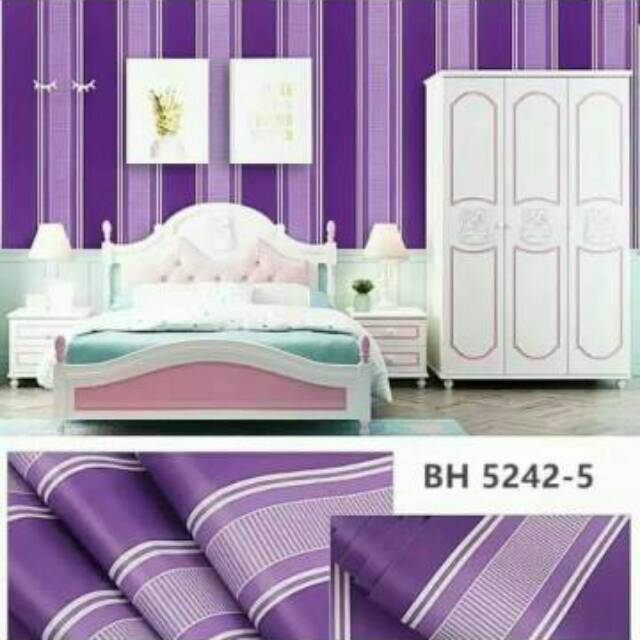 Grosir Murah Walpaper Stiker Dinding Warna Ungu Garis Putih Motif Salur Shopee Indonesia