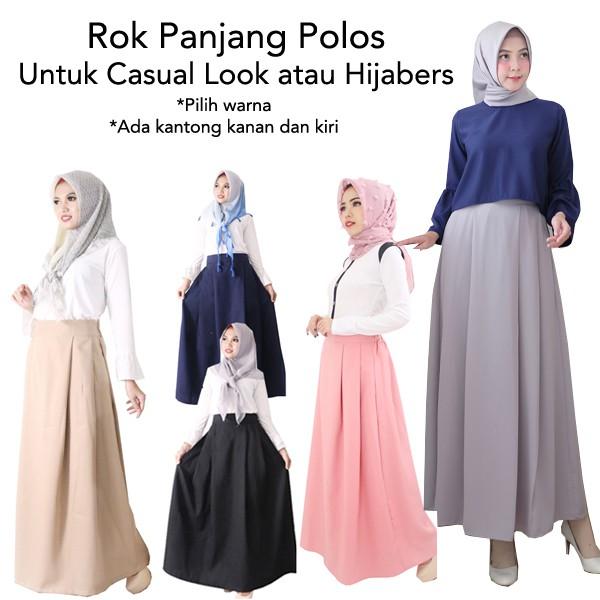 Orire Rok Panjang Rok Hijabers Simple / Women Long Skirt / Rok Polos Panjang | Shopee Indonesia