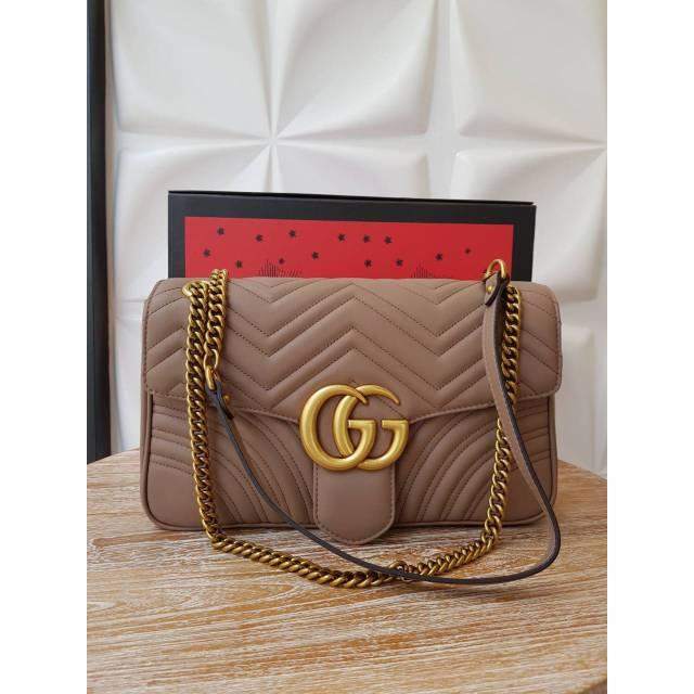 53626cec9204 GUCCI MARMONT SLING BAG MEDIUM 26cm (443497) | Shopee Indonesia