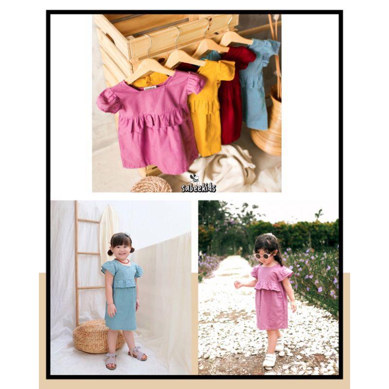 BAJU ANAK DRESS ANAK BAHAN LINEN 1-4 TAHUN KAYONNA DRESS