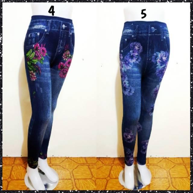 Celana Legging Jeans Wanita Motif Bunga Premim Import Leging Jeans Murah Terlaris Shopee Indonesia