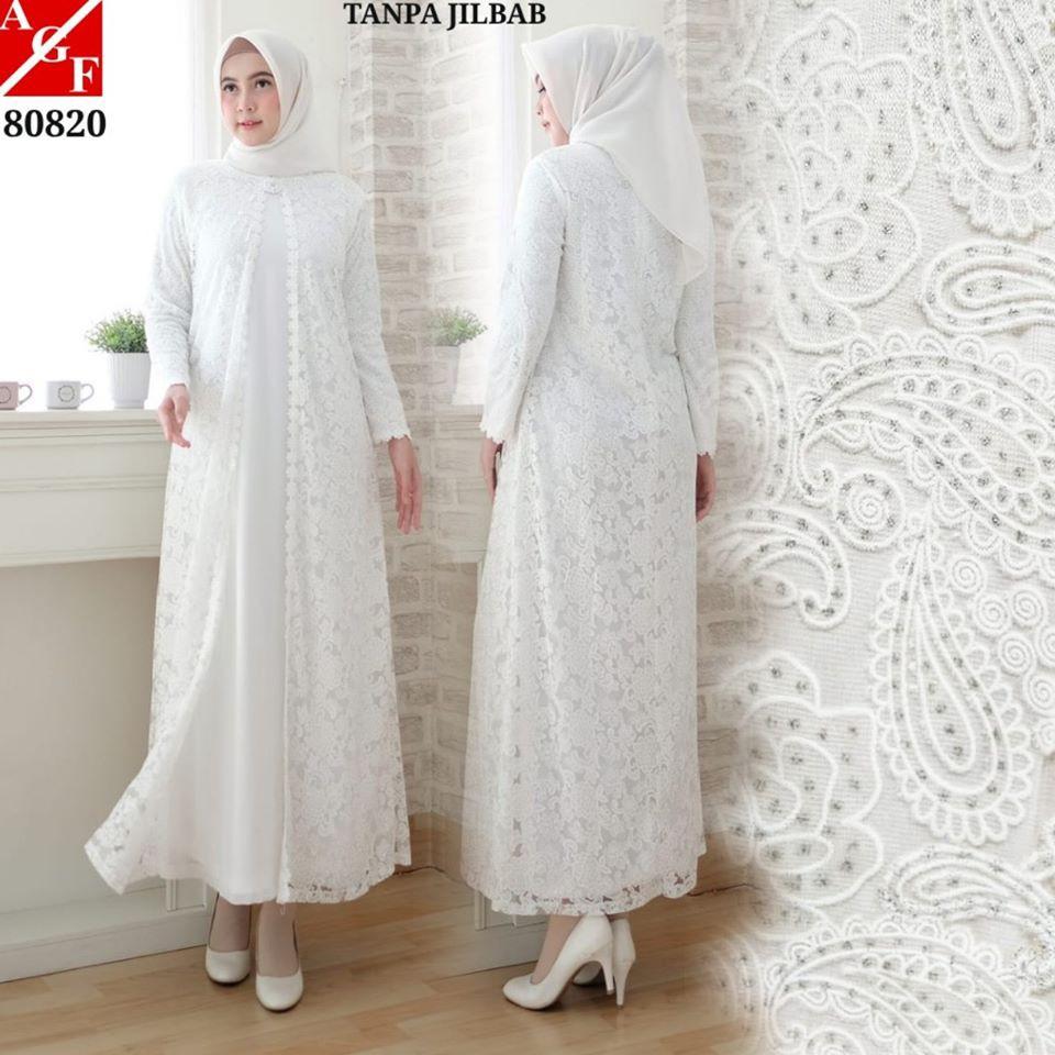 Gamis Putih Brokat Glitter Cardi Untuk Umrah / Haji dan Pesta