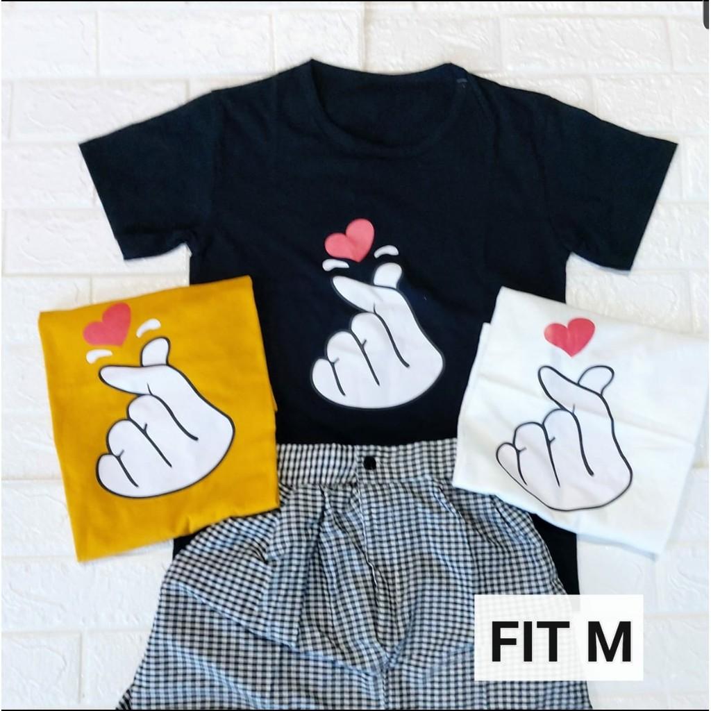 Kaos Saranghae Korea Wanita Lengan Pendek Baju Tshirt Tumblr Tee Premium Katun Shopee Indonesia