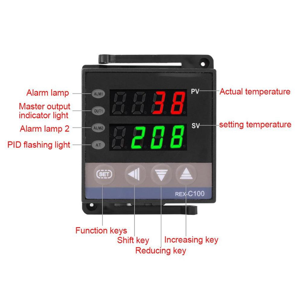 100-240V REX-C100 Digital PID Temperature Controller Switch Thermostat 0~400℃ G