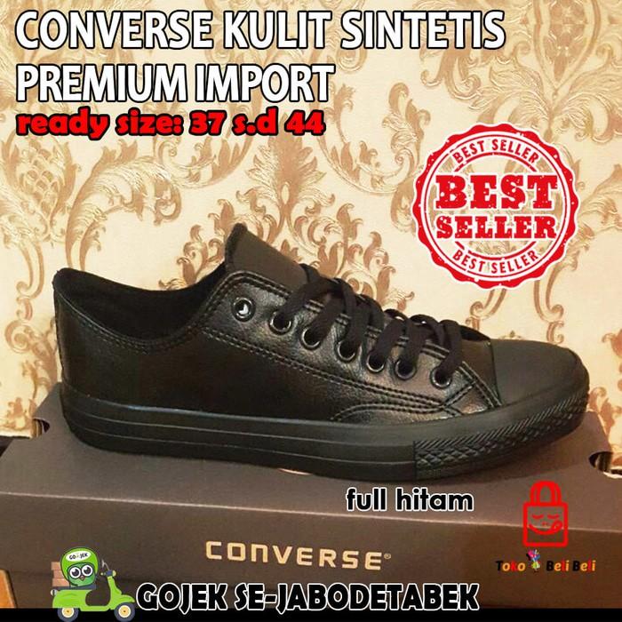 Promo!! Converse All Star Kulit Sintetis Low - Full Hitam   Sepatu Sneakers   ed6786f04a