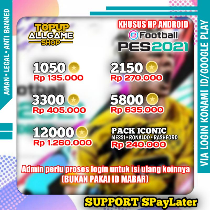 TOPUP COIN PES MOBILE 2021 ANDROID MURAH