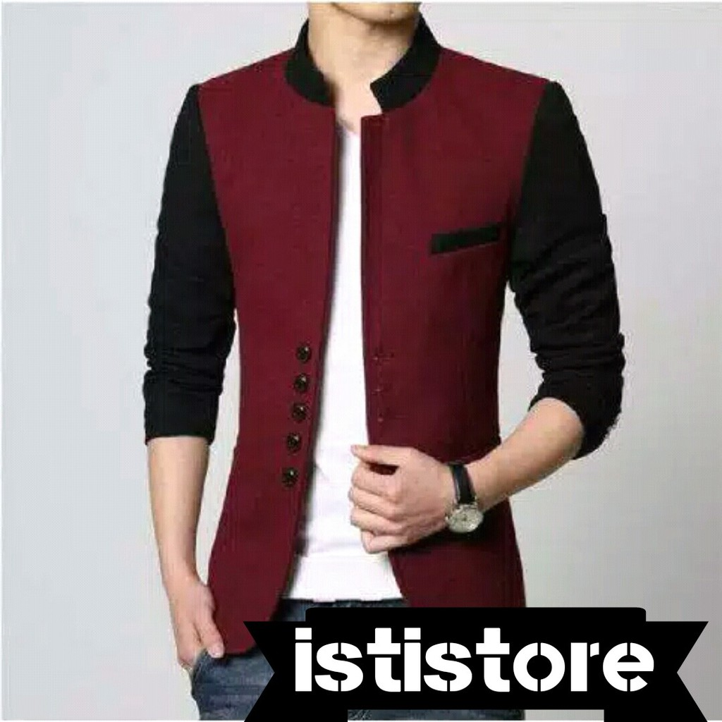Blazer Pria List Coklat Bk 125 Shopee Indonesia Fashion Trendy Slimfit Korea Blz 602
