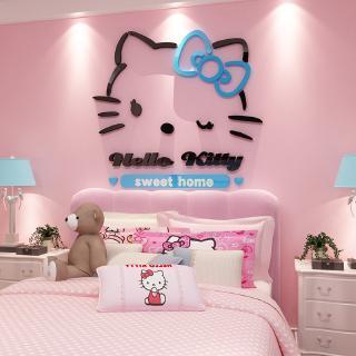 Hello Kitty Stiker 3d Stiker Dinding Tiga Dimensi Akrilik Dinding Ruang Hiasan Dinding Kamar Tidur S Shopee Indonesia