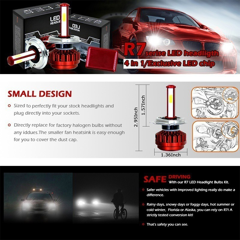 4 Sides H7 LED Headlight Bulbs Conversion Kit High Low Beam 6000K 240W 28000LM
