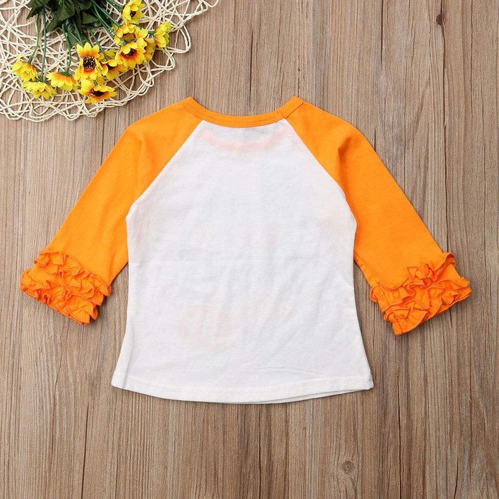 Toddler Baby Kids Girls Ruffle Letter Pumpkin Tops T-Shirt Halloween Clothes