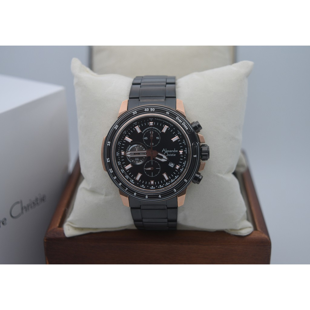 Alexandre Christie Ac 8552 Rose Gold Strap Black Men Original Classic Steel 8504lmdbtrsl Jam Tangan Couple