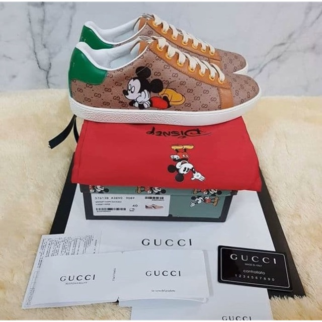 Sepatu Gucci Ace Gg Disney Low Sneakers Mickey Mouse