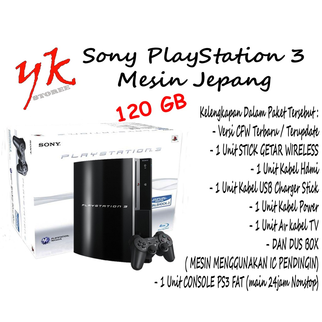 Sony Playstation 3 / PS3 / PS 3 - Port 2 USB - Fat Hdd 120 GB - Free 10 Game
