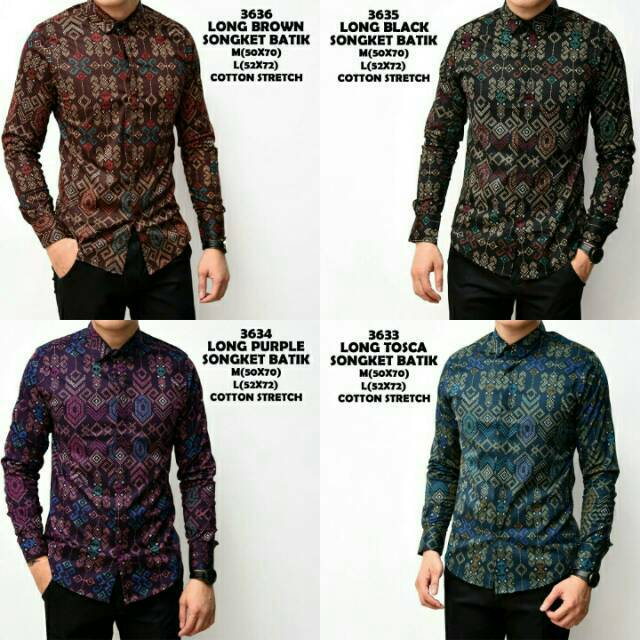 brotherholic kemeja lengan panjang batik songket slimfit / baju cowok batik panjang songket | Shopee Indonesia