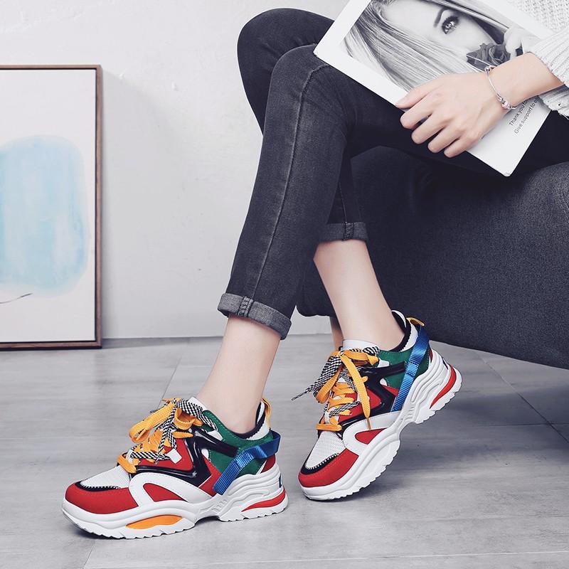 Korea Sepatu Sneakers Wanita Fashion Hak Sepatu Kekinian ...