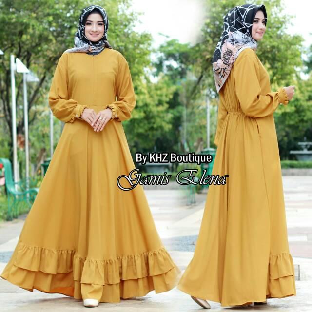 Gamis Jersey Kunyit Biru Kuning Shopee Indonesia