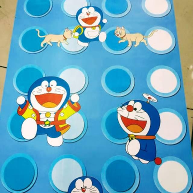 Grosir Murah Wallpaper Sticker Dinding Kartun Anak Doraemon Biru Polkadot Putih Lucu Imut Cantik