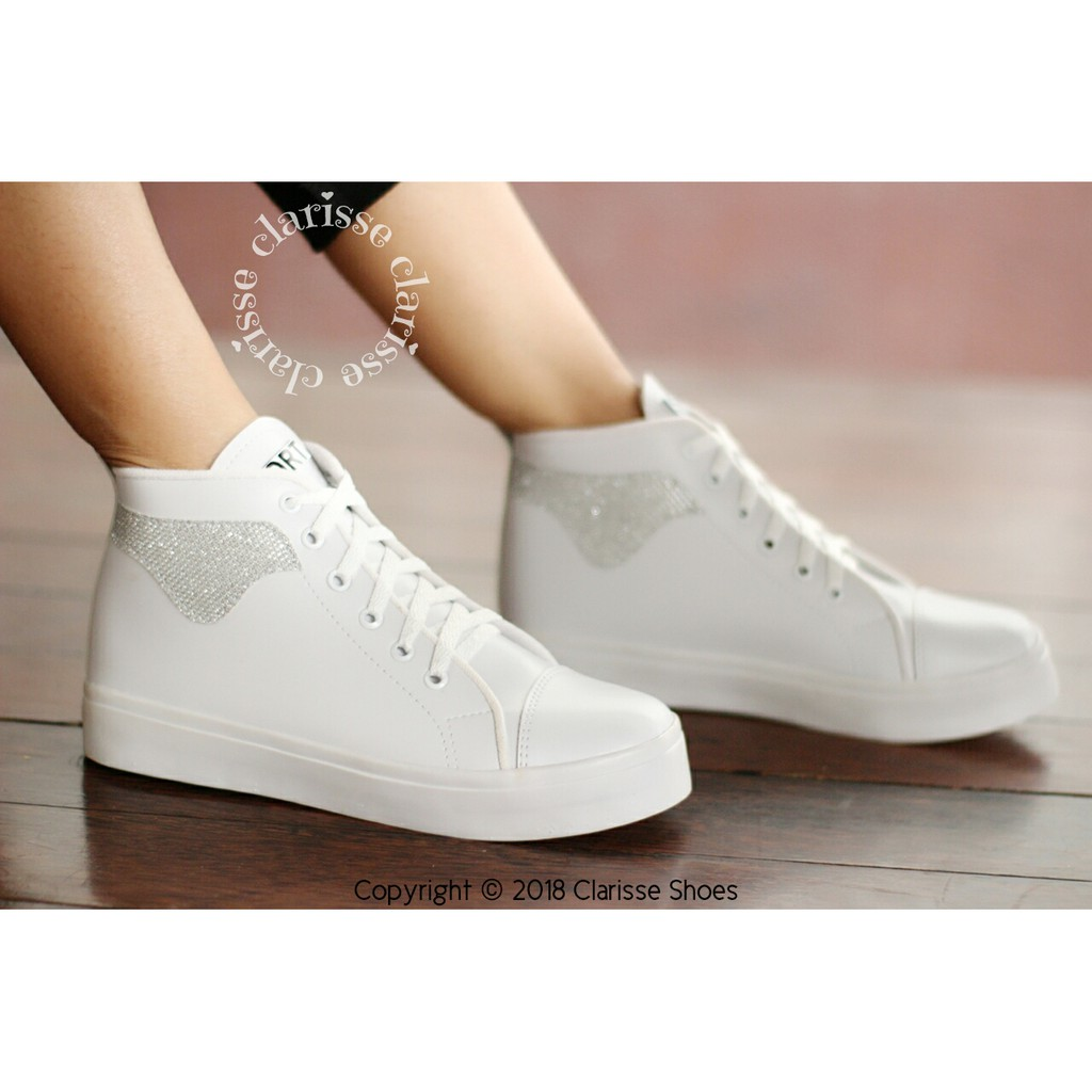 Clarisse Boots Sepatu Sneakers WHITE YOONA REALPICT Kets Wanita PUTIH  GLITTER SILVER  908858c454