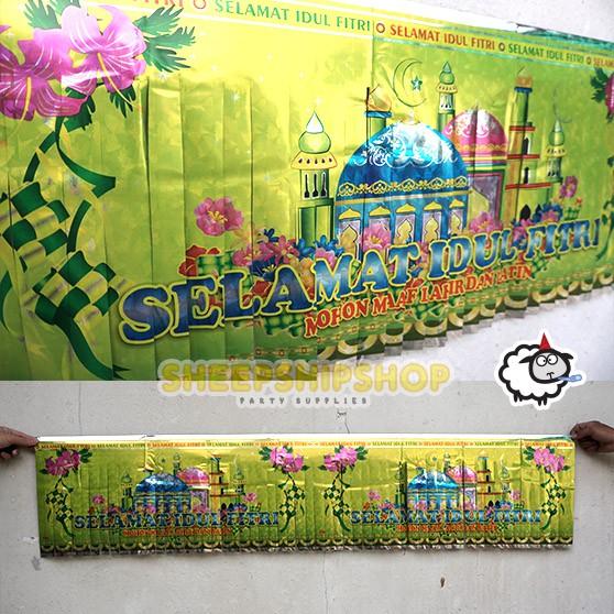 Banner Lebaran Hologram 88 Foil Selamat Idul Fitri Hijau Muda