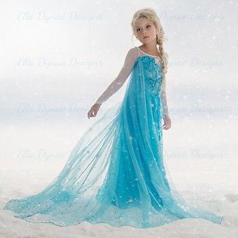 Kostum Cosplay Dress Princess Elsa Frozen Anna untuk Anak