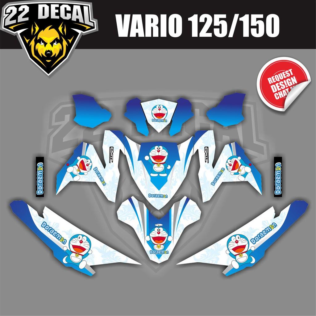 Decal sticker vario 125 150 simpel putih garis hijau full body bahan berkualitas shopee indonesia