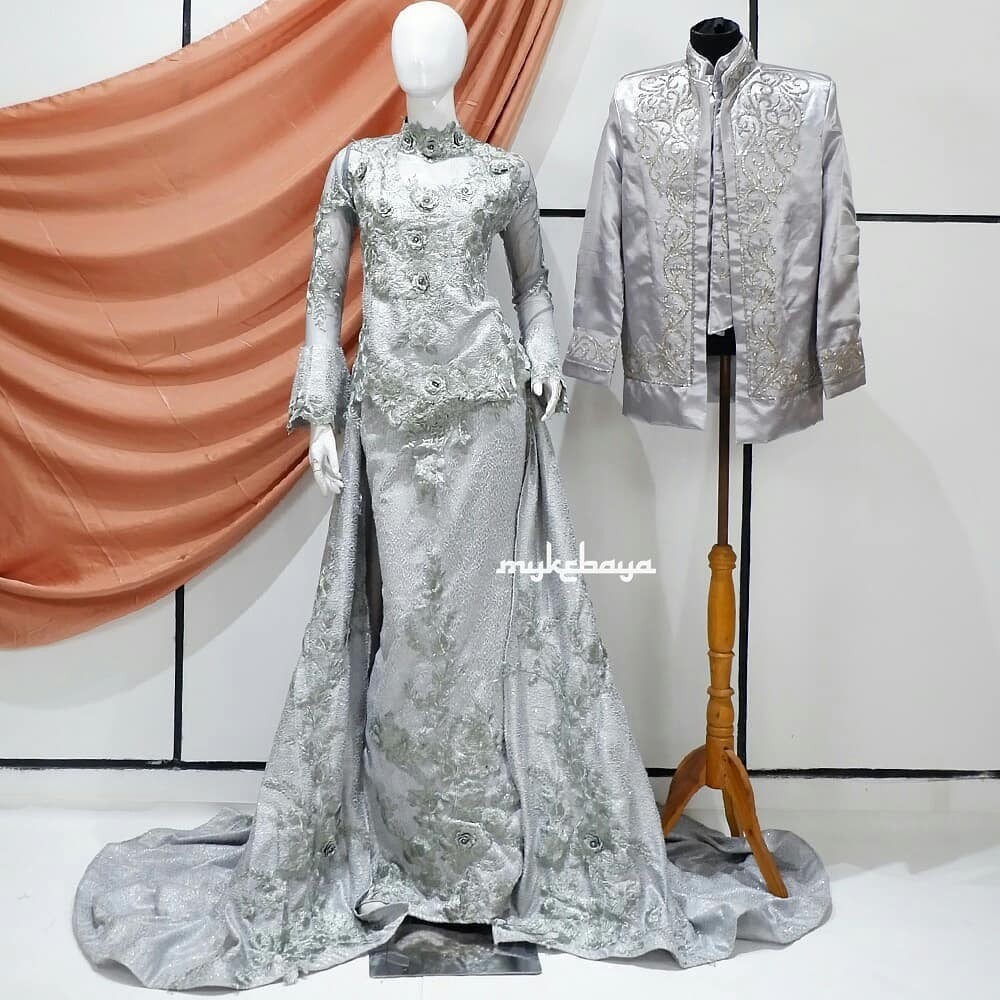 Wedding Dress Gaun Kebaya Pengantin 8D Free Veil Pengantin Warna Abu